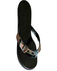 Burberry Leather Flip Flops - Blue