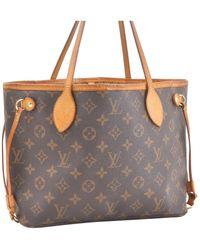 Louis Vuitton Bolsa de mano en lona marrón Neverfull
