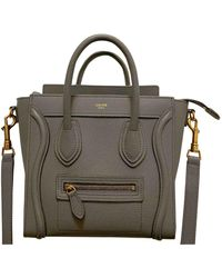 Céline Nano Luggage Leder Cross Body Tashe - Grau