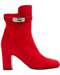 Hermès - Pre-owned Red Suede Ankle Boots - Lyst