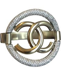 Chanel Pulsera en metal dorado CC - Multicolor
