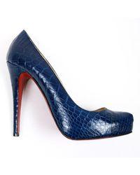 Christian Louboutin Bianca Crocodile Heels - Blue