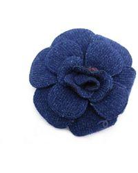 Chanel Camélia Blue Cloth Necklaces