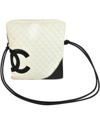 8be8ef5771d3 Chanel Pre-owned Cambon Leather Crossbody Bag in White - Lyst