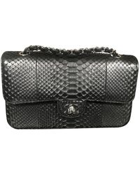 Chanel Timeless/classique Black Python Handbag