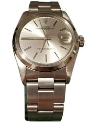 Rolex Oyster Perpetual 34mm Silver Steel Watches - Metallic
