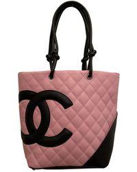 Chanel Sac à main Cambon en Cuir Rose