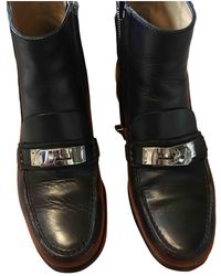 Hermès Black Leather Ankle Boots