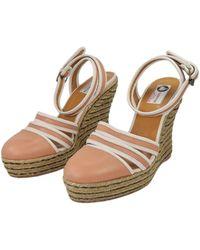 Lanvin Beige Leather Sandals - Natural