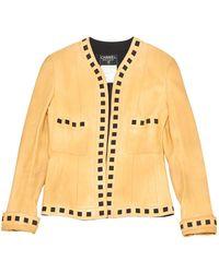 Chanel Vest en Cuir Beige - Multicolore