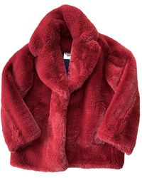 Diane von Furstenberg Faux Fur Coat - Red