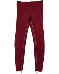 Balmain Red Leather Trousers