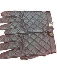 Chanel Gants en Cuir Noir