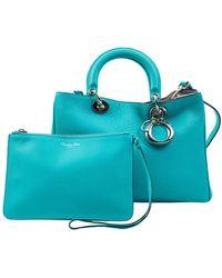 Dior Lady Turquoise Leather Handbag - Blue
