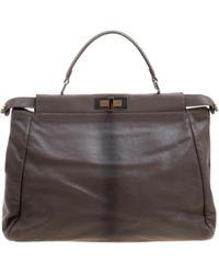 Fendi - Peekaboo Burgundy Leather Handbag - Lyst 7f2afaee10185