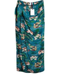 Stella Jean Silk Maxi Skirt - Blue