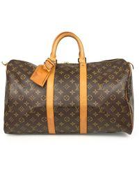 Louis Vuitton Sac de voyage Keepall en Toile Marron