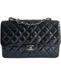 Chanel - Timeless/classique Navy Patent Leather Handbag - Lyst
