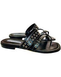 Manolo Blahnik Leather Sandals - Black