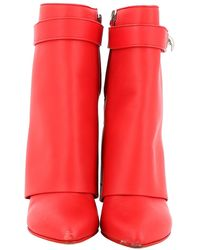Givenchy Shark Leather Ankle Boots - Red