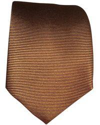 Ferragamo Cravatta in seta dorato - Marrone