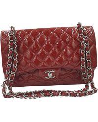Chanel Sac à main Timeless/Classique en Cuir verni Rouge