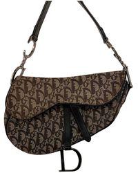 Dior Vintage Saddle Brown Cloth Handbag