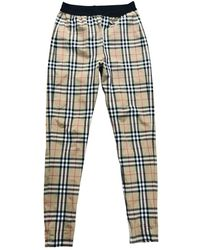 Burberry Beige Polyester Pants - Multicolor