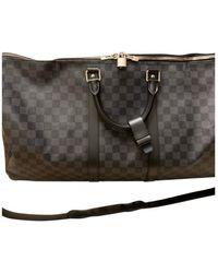 Louis Vuitton Keepall Cloth Travel Bag - Grey