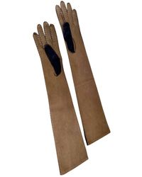 Marni Leather Long Gloves - Brown