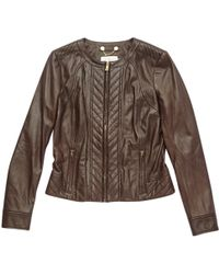 Tory Burch - Brown Leather Jacket - Lyst