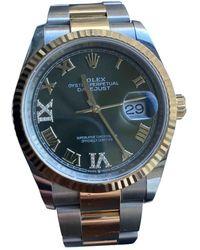 Rolex Reloj en oro y acero verde Datejust 36mm