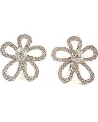 Van Cleef & Arpels - Pre-owned Fleurs Silver White Gold Earrings - Lyst