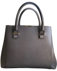 Victoria Beckham Quincy Gray Leather Handbag