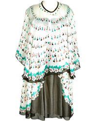 Anna Sui Robe en Soie Blanc - Multicolore