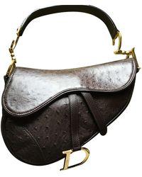 Dior Saddle Vogelstrauß Handtaschen - Braun