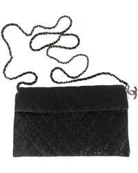 Chanel Wallet on Chain Leinen Clutches - Schwarz