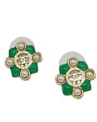 Chanel Boucles d'oreilles CC en Métal Doré - Vert