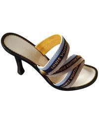 Louis Vuitton Leinen Pantoffeln - Blau