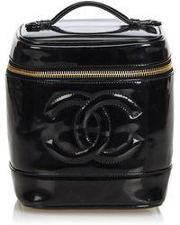 Chanel - Vintage Black Patent Leather Travel Bag - Lyst