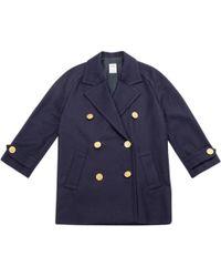 Céline - Pre-owned Blue Wool Coat - Lyst