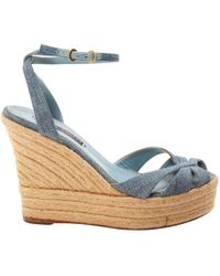 Ralph Lauren Collection - Blue Cloth Sandals - Lyst