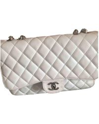 Chanel Borsa a mano in pelle bianco Timeless/Classique