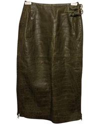 Dior Leder Maxi Rock - Grün