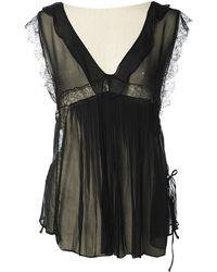 John Galliano - Black Silk Top - Lyst