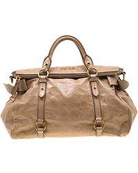 Miu Miu Vitello Beige Leather Handbag - Natural