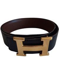 Hermès Cinturón en cuero negro H