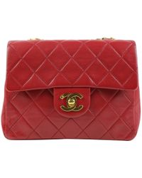 6a1f6bbeaf23 Chanel - Pre-owned Vintage Timeless/classique Red Leather Handbags - Lyst