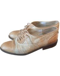 Chanel Beige Leather Lace Ups - Natural
