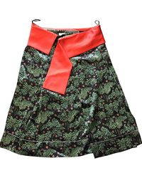 Céline \n Green Silk Skirt